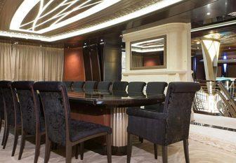 formal dining area on the upper deck of motor yacht KISMET