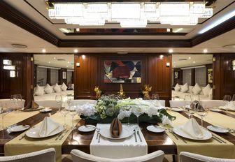 Formal dining area on Superyacht CHAKRA