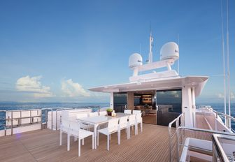 the alfresco dining area of charter yacht impatient IV with a breathtaking view of the Mediterranean