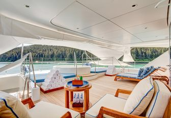 chaise loungers, deck chairs and Jacuzzi on upper deck aft of motor yacht Party Girl
