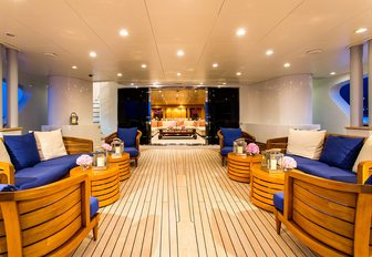 main deck aft at night on board charter yacht MISCHIEF