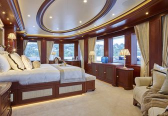 master suite with sweeping panoramas on board luxury yacht Areti