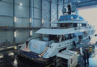 aft part of superyacht VIVA as she leaves shed at Heesen's facilities on day of her launch
