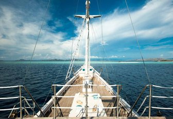 view of the foredeck of charter yacht ALEXA from observation deck above