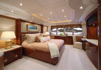 elegantly styled master suite aboard charter yacht 'Capri I'