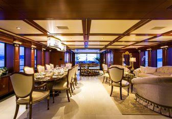 The richly styled interior of motor yacht MY SEANNA