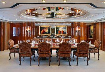 luxurious dining salon on board motor yacht 'Capri I'