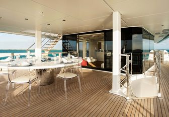 the upper deck aft of motor yacht HOME with alfresco dining area overlooking the water