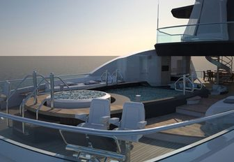 on the aft sundeck of lurssen's superyacht kismet you will find he perfectly intimate Jacuzzi that is perfect for wingding with a cocktail in hand
