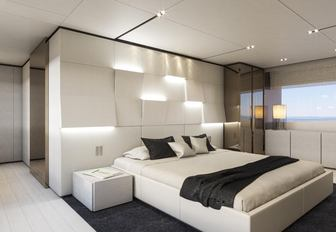 light and airy master suite on board charter yacht December Six