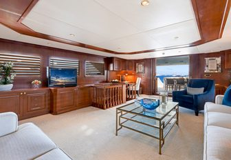 spacious main salon with view onto main deck aft on board superyacht PRAXIS