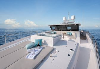 the bright and airy sundeck of charter yacht impatient IV