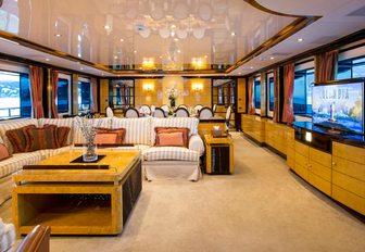 Main salon on board superyacht DIANE