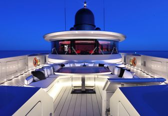 secluded lounging area on the foredeck of motor yacht OKTO