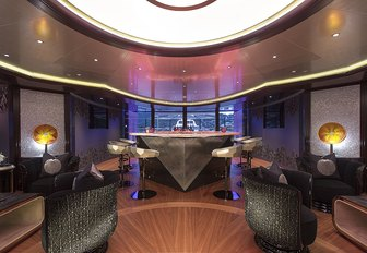 art deco-style bar on board luxury yacht KISMET