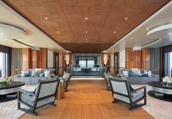 seating areas in the main salon aboard motor yacht BARBARA