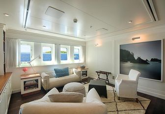 Modern art on display on the charter yacht SENSES