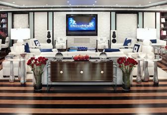 monochrome and pop art-inspired skylounge aboard luxury yacht 'Alfa Nero'
