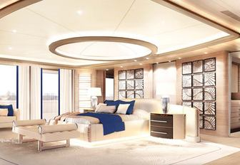 A graphic rendering of the interior of CRN M/Y Cloud 9
