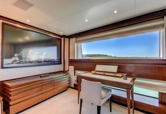 private office in master suite aboard charter yacht Drew
