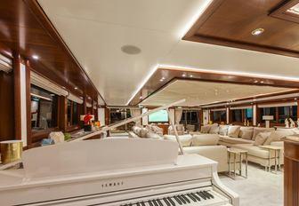 Piano in main lounge on O'MEGA superyacht