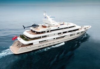 superyacht BOADICEA with helicopter landing on helipad