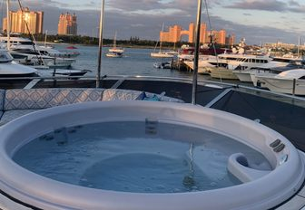 atlantis hotel as seen from a superyacht during bahamas boat show