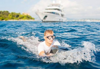 charter guest staying on board motor yacht DYNAR tries out a SeaBob