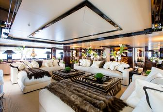 opulent styling continues into the skylounge aboard luxury yacht 'Lioness V'