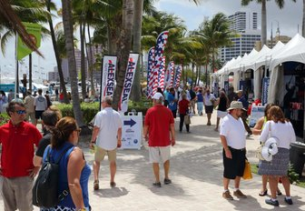 marine-related exhibits at the Palm Beach Boat Show in Florida