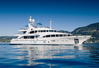 motor yacht Domani anchors on a luxury yacht charter