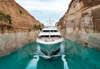 charter yacht O'PTASIA cruising through the Corinth Canal on a Greece yacht charter