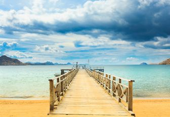 A pier leading into the water at Komodo Island