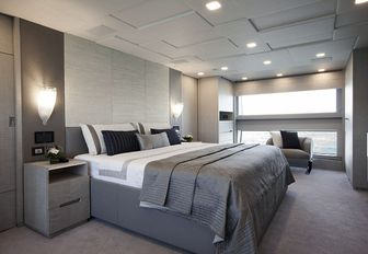 master suite with grey colour palette on board superyacht Cheers 46