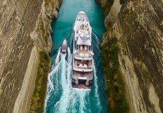 superyacht Gene Machine cruising through the Corinth Canal
