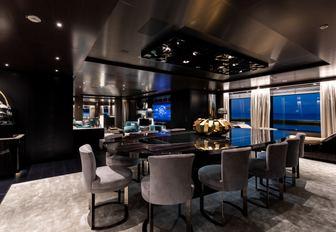 formal dining area in the main salon forward aboard motor yacht SOLO