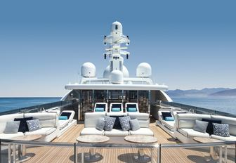 lounging areas on the sundeck of motor yacht TITANIA with enclosed gym in the background