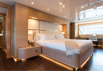 beautifully styled master suite aboard luxury yacht RESILIENCE