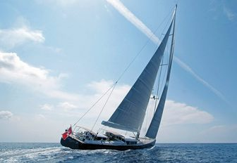 sailing yacht Cinderella IV gets underway on a private charter vacation in the Mediterranean