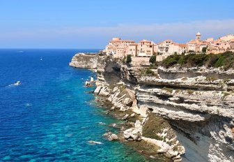 Bonifacio perched atop a cliff edge in Corsica