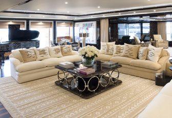 Alberto Pinto designed main salon aboard luxury yacht Alfa Nero