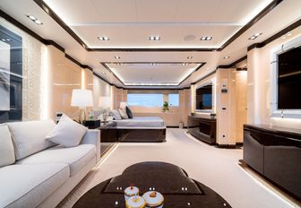 The private cinema on board superyacht O'PTASIA