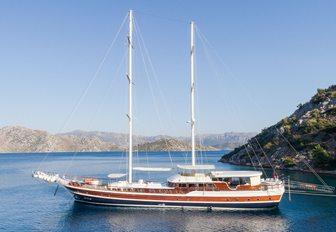 luxury gulet Halcon del Mar anchored on a luxury yacht charter in Turkey