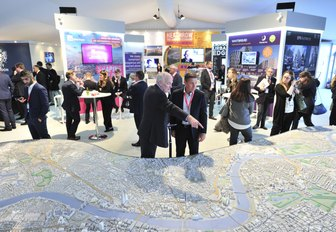 busy exhibition space at MIPIM at the Palais des Festival in Cannes