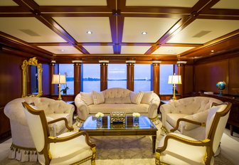 ornate seating area in the main salon of charter yacht MY SEANNA