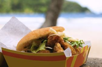 beach-side barbecue serves up delicious snapper burger in Trinidad