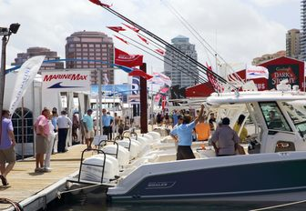 boardwalks at the Palm Beach Boat Show in Florida