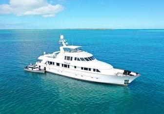 Wonderland charter yacht exterior designed by Delta Design Group