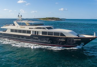 Legacy charter yacht exterior designed by Broward