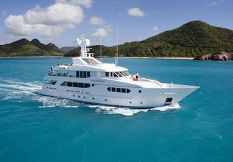 Perle Bleue charter yacht exterior designed by Donald Starkey